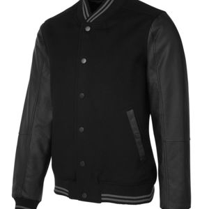 JB's Art Leather Baseball Jacket Black S Thumbnail
