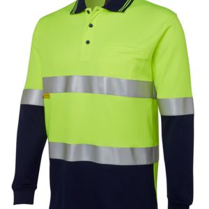 JB's Hi Vis L/S (D+N) Cotton Back Polo Lime/Navy XS Thumbnail