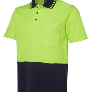 JB's HV Non Cuff S/S Cotton Back Polo Lime/Navy XS Thumbnail