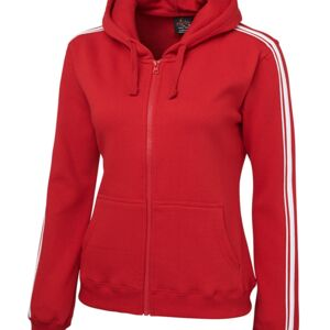 Pdm Ladies P/C Dual Stripe F/Z Black/red 6 Thumbnail