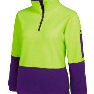 JB's HV Ladies 1/2 Zip Polar Lime/Pink 8 Thumbnail