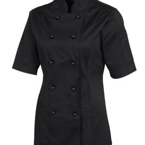 JB's Ladies S/S Chef's Jacket Black 6 Thumbnail