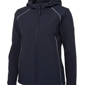 JB's Ladies Hooded Soft Shell Black/Silver 6 Thumbnail