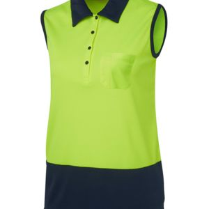 JB's Ladies Hi Vis S/Less Polo Lime/Navy 8 Thumbnail