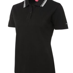 JB's Ladies Chef's Polo Black/White 8 Thumbnail