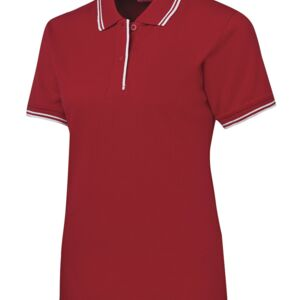 JB's Ladies Contrast Polo Black/Red 8 Thumbnail