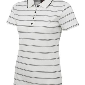 Podium Ladies Alt Stripe Polo Cream/Black 8 Thumbnail
