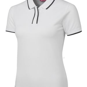 JB's Ladies Twin Pipe Polo Black/White 8 Thumbnail