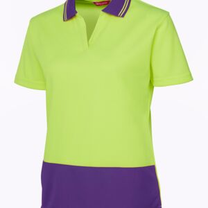 JB's HV Ladies S/S Non Button Lime/Red 8 Thumbnail
