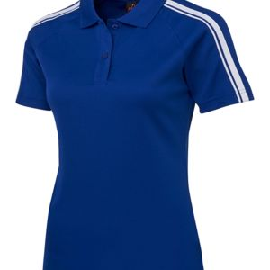 Podium Ladies Dual Stripe Polo Black/Red 6 Thumbnail
